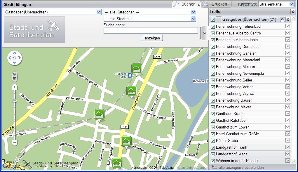 """Satellitenplan mit Kartentyp """"Straßenkarte"""""""