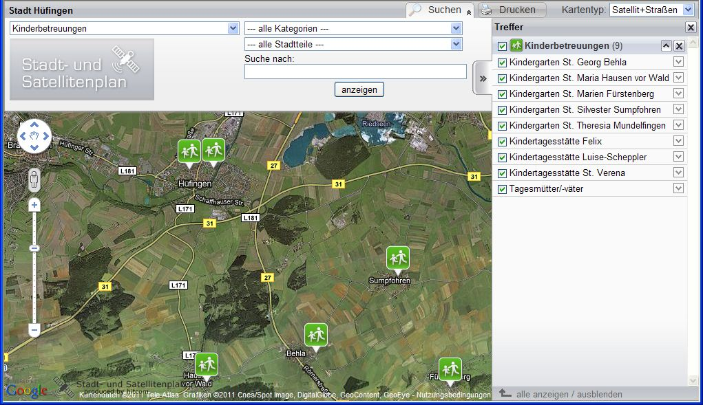 """Satellitenplan mit Kartentyp """"Satellit und Straßen"""""""