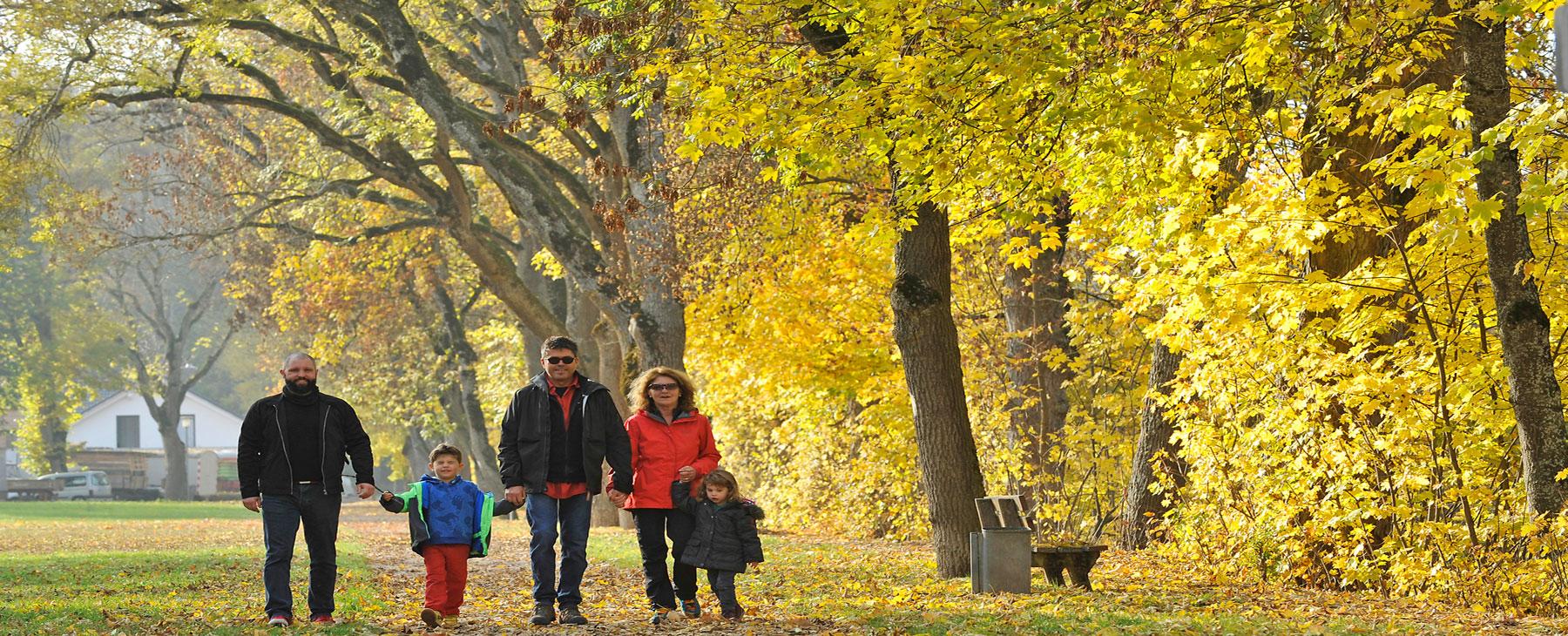 Familie bei einem Herbstspaziergang