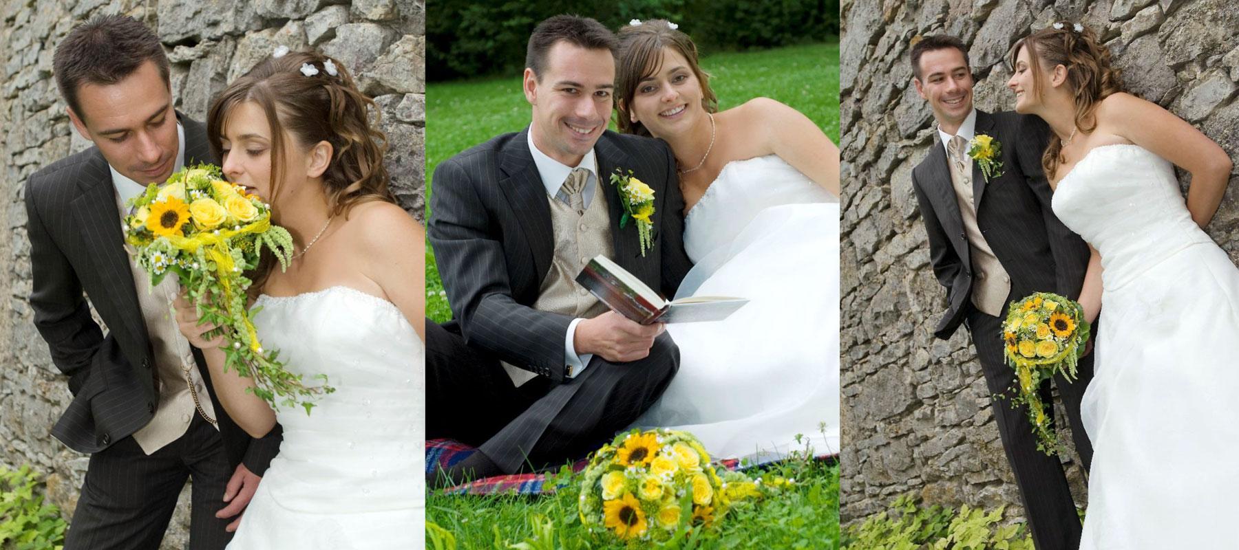Brautpaar mit gelben Brautstrauß