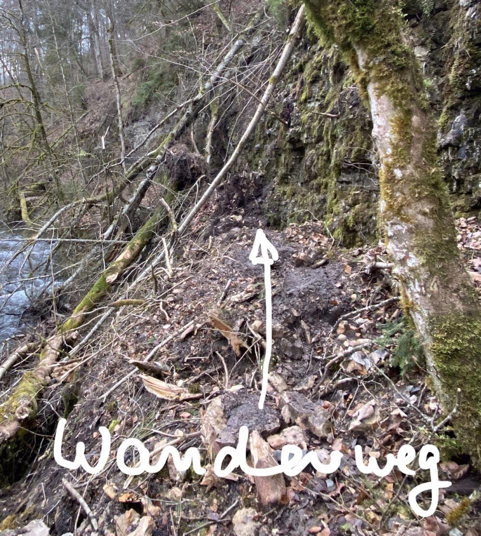 Wanderweg durch Felsrutsch und umgestürzte Bäume nicht begehbar